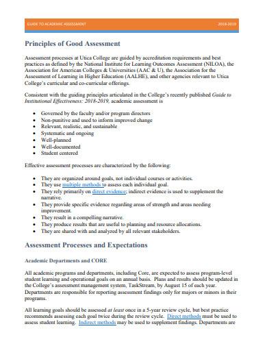 academic assessment template