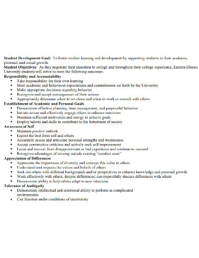 academic development goals for college students