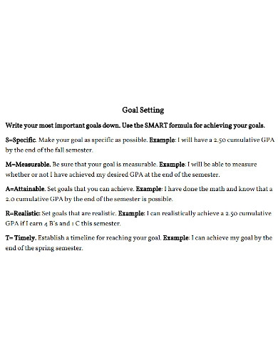 academic goals for college students example