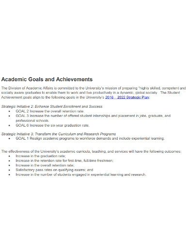 academic goals for college students format