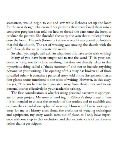 academic personal experience essay