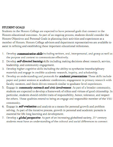 academic presentation goals for college students
