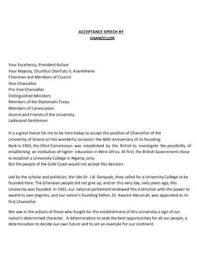 acceptance speech for chancellor position