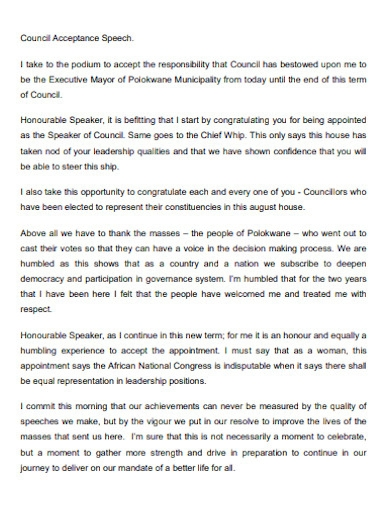 acceptance speech for council position