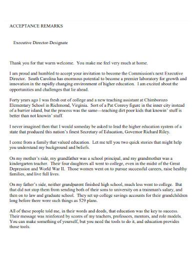 acceptance speech for executive director position