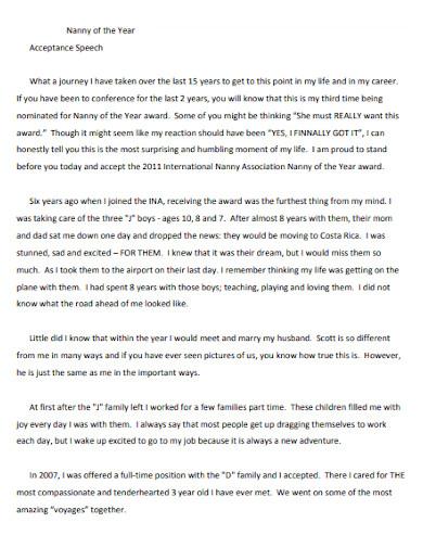 acceptance speech for nanny position