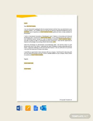 accountant assistant job application letter