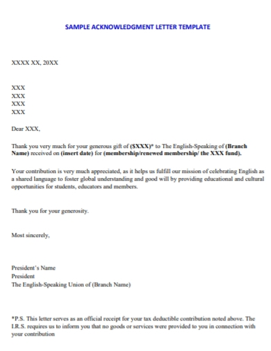 advised fund donor acknowledgement letter