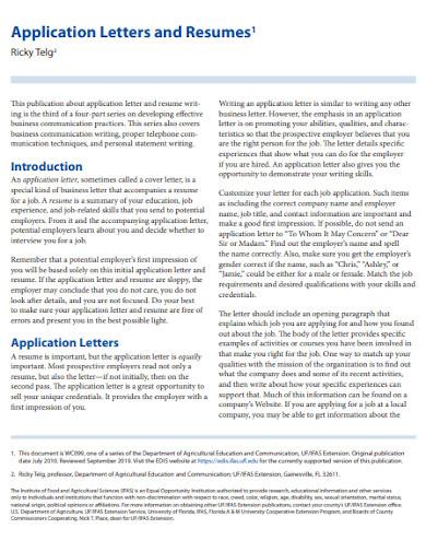 agriculture job application letter