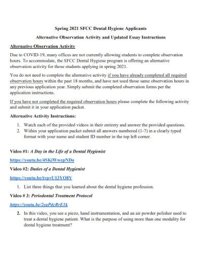 alternative observation essay