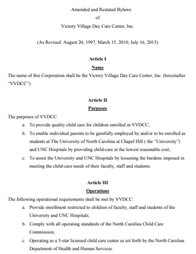 amended and restated village day care bylaws