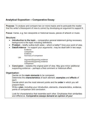analytical exposition comparative essay