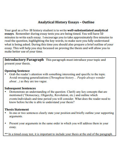 analytical history essays outline