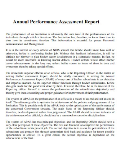 annual performance assessment report