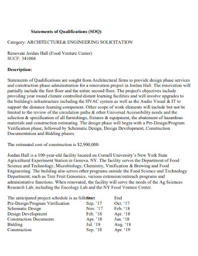 architecture statement of qualifications
