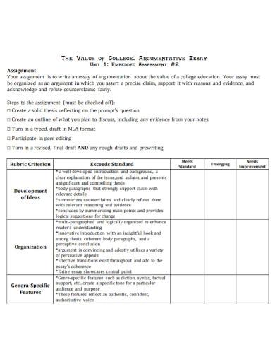 argumentative assignment essay for college