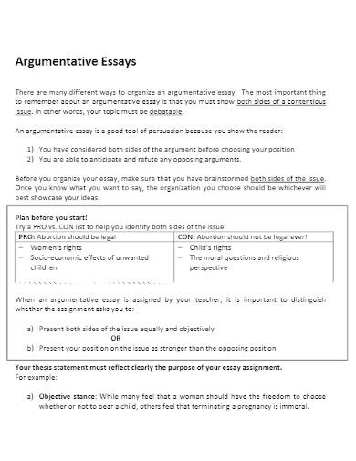 argumentative essay of debatable outline