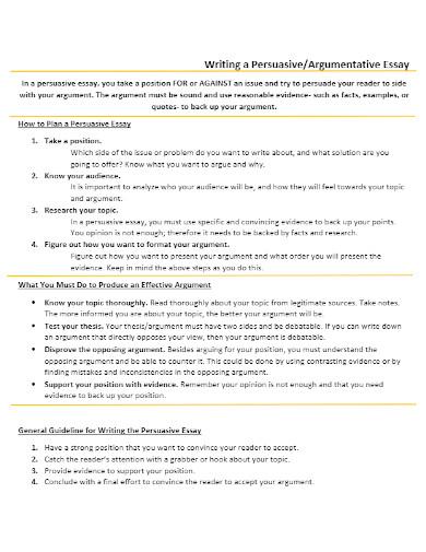 argumentative essay of persuasive outline