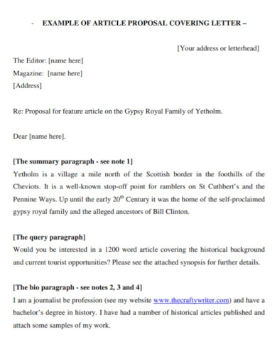 article proposal cover letter