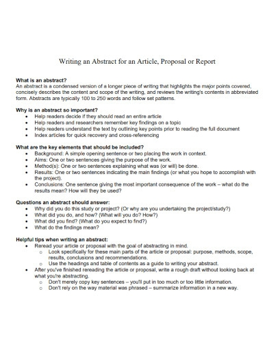 article proposal report