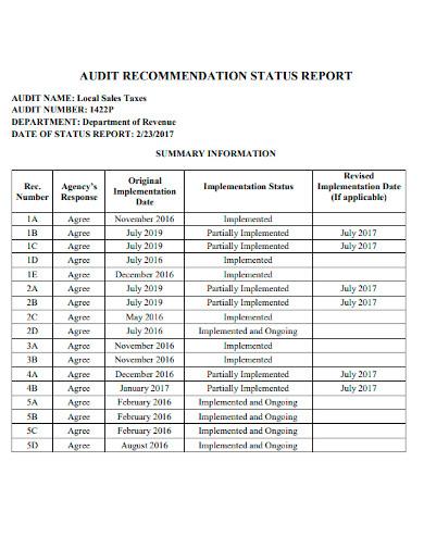 audit recommendation status report