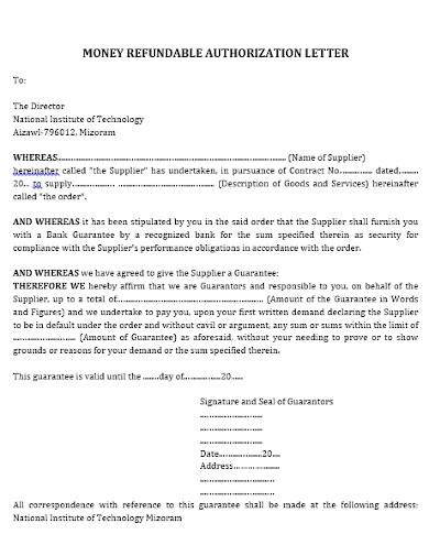 authorization letter to claim money refundable