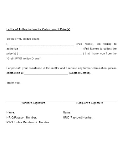 authorization letter to claim prize money