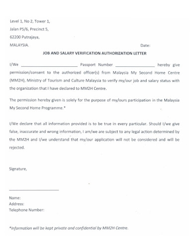 authorization letter to claim and verification of salary