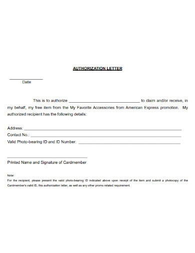 authorization letter to receive claim salary