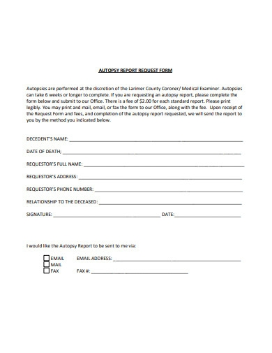 autopsy report request form
