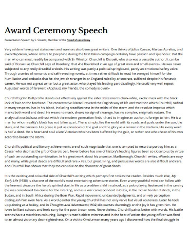 award ceremony speech template