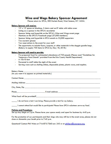 bakery sponser agreement