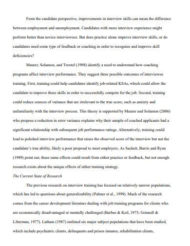 basic job interview essay