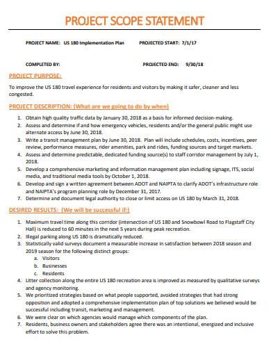 basic project scope statement