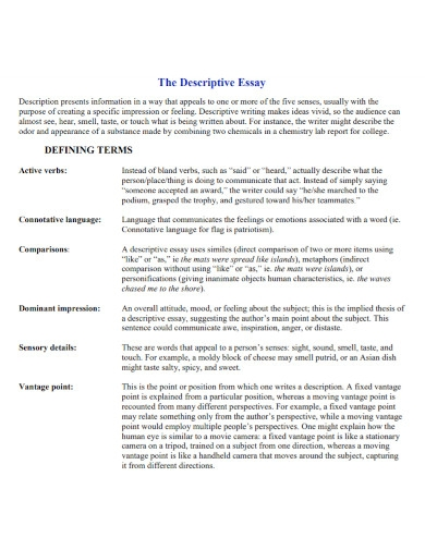 basic university descriptive essay