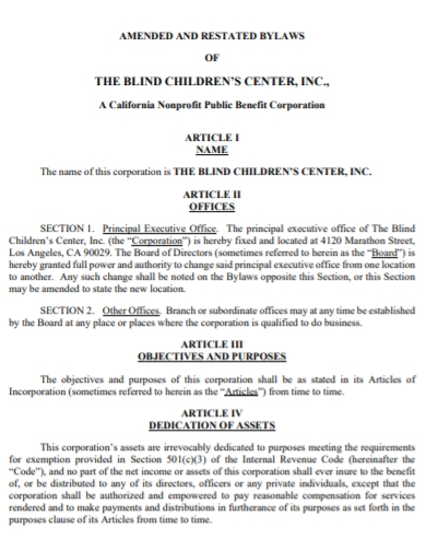 blind children center day care bylaws