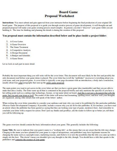 board game design proposal worksheets