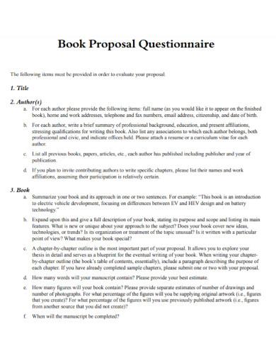 book proposal questionnaire