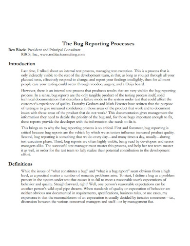 bug reporting processes