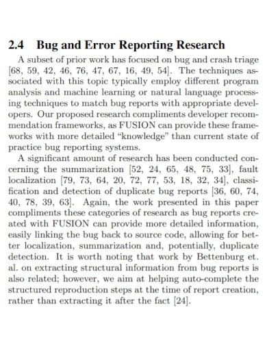 bug and error reporting