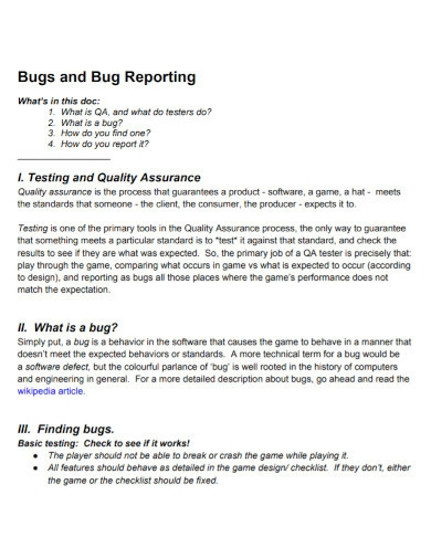 bugs and bug reportings