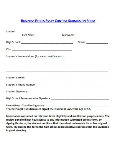 business ethics essay submission form