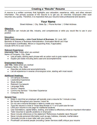 business resume objective statement