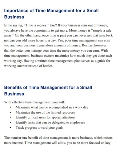 business time management goal