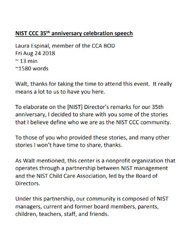 ccc 35th anniversary celebration speech