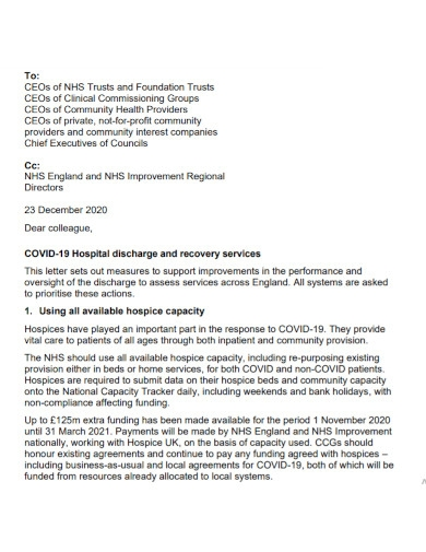 covid 19 hospital discharge letter