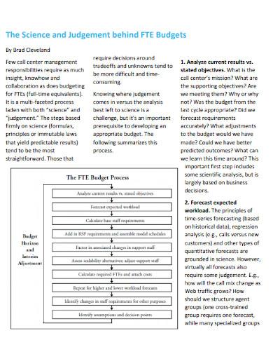 call center calculating budget