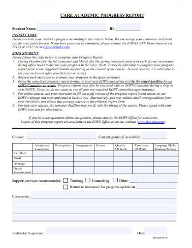 care academic progress report