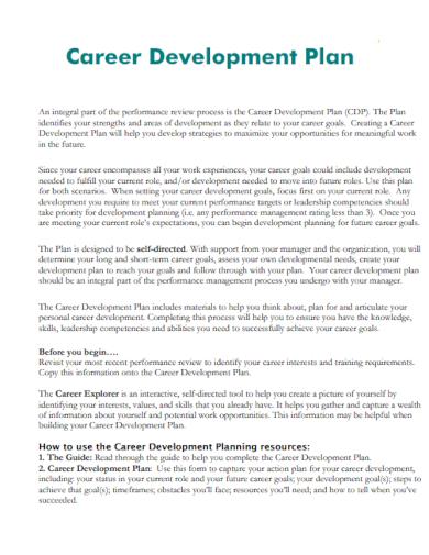career development plan for manager