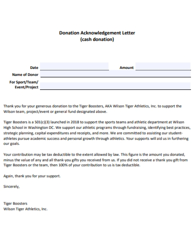 cash donation acknowledgment letter
